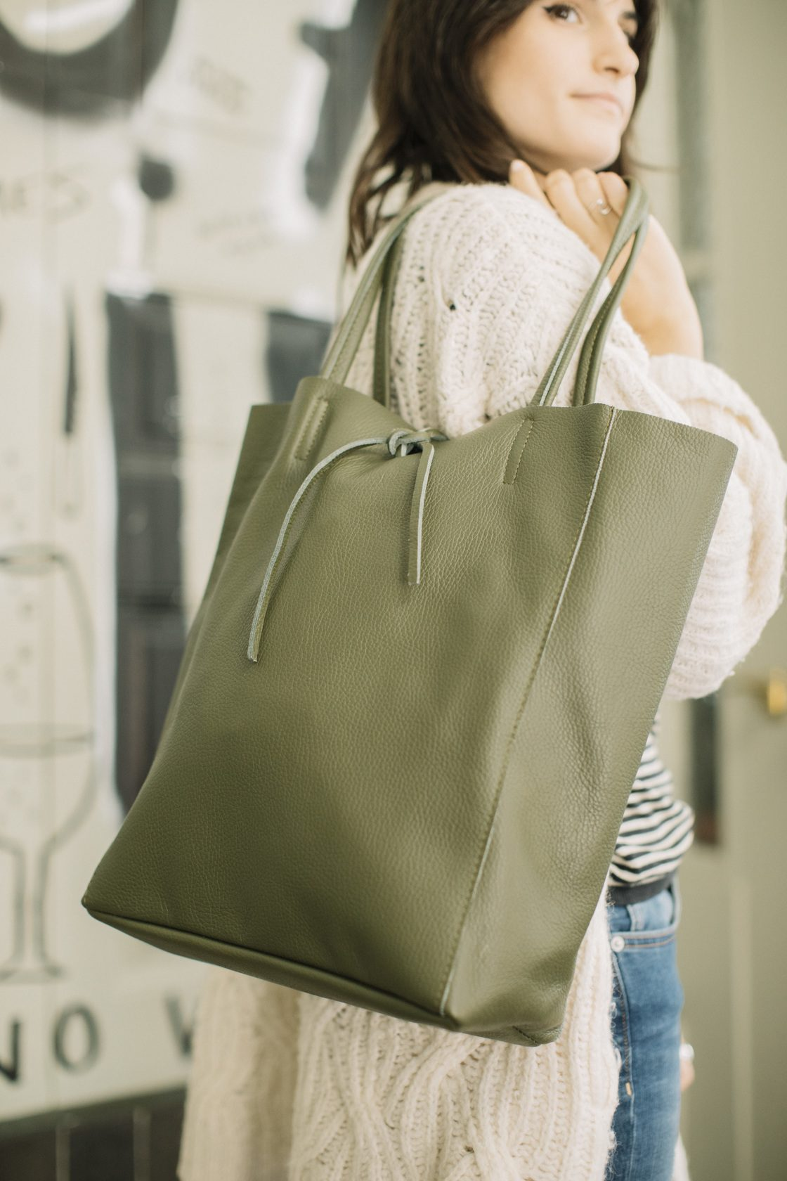 MARGOT SHOPPING BAG PIEL VERDE 9